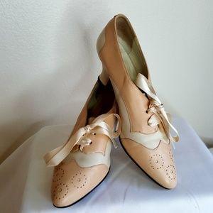 Pura Lopez pink & white lace up heels size 8